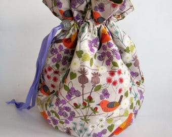 Hedgerow Project Bag. Small Drawstring bag ideal for knitting or crochet projects