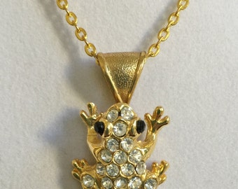 Swarovski Crystal Frog Necklace