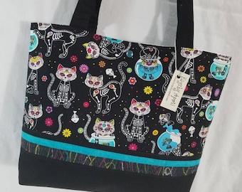 Sugar Skull Day of the Dead Calavera Cats purse tote bag