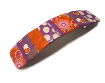 Pince à cheveux, barrette pour cheveux violet Orange, queue de cheval à la main en pâte polymère, clip français mosaïque colorée, en pince à cheveux France, pois