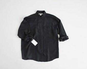 black silk shirt | 90s silk blouse | collared silk blouse