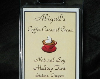 Coffee Caramel Cream Handmade Natural Soy Melting Tart  by Abigail's on Main