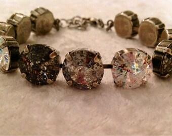12mm swarovski crystal bracelet in black, white, and silver patina- Shadow-