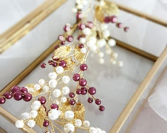 Burgundy Gold Bridal hair piece, Gold Bridal headpiece, Gold Tiara, Gold Wedding Tiara, Gold Bridal Wreath, Gold Bridal Vine