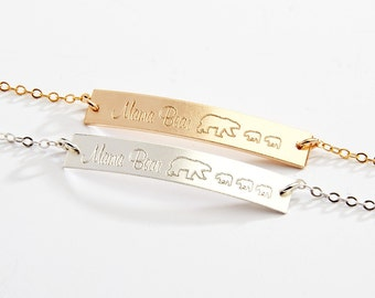 SALE-Mama Bear Bracelet-Gold Bar Bracelet-Personalized Gift for Mom-Baby Bears Cubs -14K Gold Filled-Rose Gold Filled,Sterling Silver-CG243B