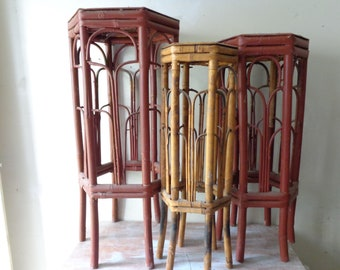Trio of Hexagonal 1970s Burnt-Tortoise Bamboo Plant Stands - PICK UP ONLY