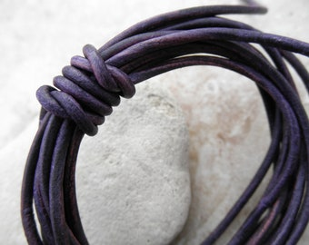 Natural Dye Violet - 1mm Leather Cord - By the Yard