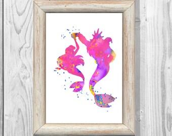 Ariel Poster Watercolor Print Little Mermaid  and Triton Print Disney Princess Print Giclee Wall   Art Print  Instant Digital Download