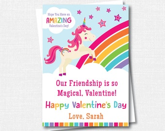 Rainbow Unicorn Valentine's Day Cards - Unicorn - Rainbow - Classroom Valentine -Girl Valentine -DIGITAL DESIGN or HANDCRAFTED-Free Shipping