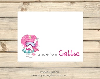 Personalized Unicorn Stationery - Unicorn Note Cards set - Personalized stationery for kids - Unicorn Thank You Cards - Kids Note Cards -