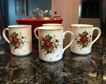 Mikasa Petite Bone China HOLIDAY DELIGHT Coffee Mugs, Set of 4, Made in Indonesia, Tea Cups for Hot Beverages, Item #588055875