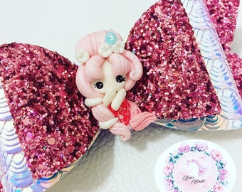 Pink Mermaid Large Hair Bow