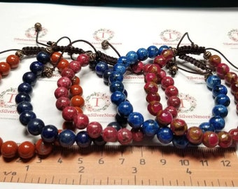 1 piece of 7.5 - 8 inches Beaded Bracelet with macrame clasp hand made 8mm Semi Precious stones in stones to choose.