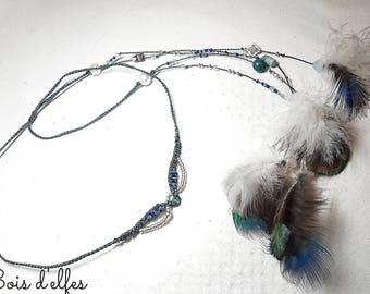 Tiaras in Macrame, feathers and genuine stone.