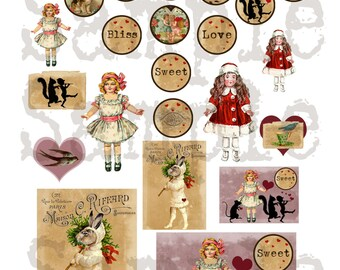 Valentine Bliss Collage Sheet-Instant Download--For Decor--Art--Scrapbooking--Tag Embellishment--Rabbits--Hearts--Dolls