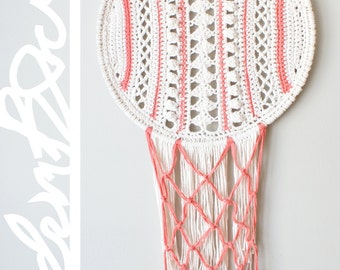 "DIY Crochet PATTERN - Lacy Stripes Dreamcatcher Inspired Wall Hanging  Size: 14"" diameter (2015006)"