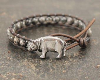 Hippo Jewelry Silver Gray Hippo Bracelet Gemstone and Leather Wrap Bracelet