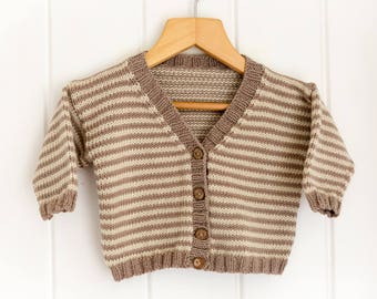 Striped Baby Cardigan - V-Neck  - Mink, Cream 0-6 months - luxury Merino/Cashmere blend yarn, handmade baby clothes