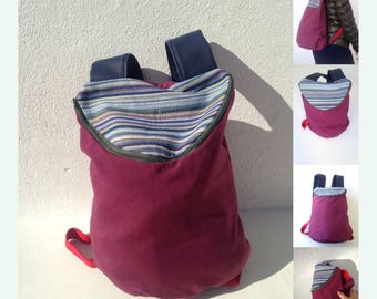 Fabric Backpack with Zip. Fully handmade