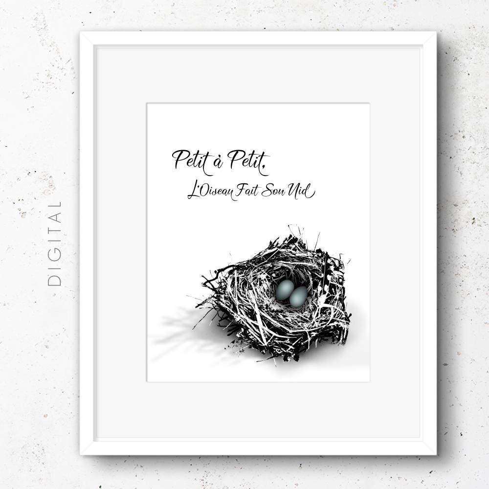 French Typography Easter Printable Bird\'s Nest w/ Clutch