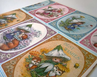 Vintage 1980's Any Occasion Best Wishes Wrapping Paper Blue Pink Garden Fairy Pixie Gift Wrap