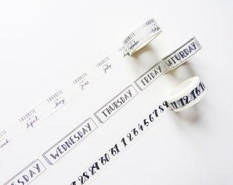 Monat, Wochentag, Nummer Washi Tape / Klebeband / Craft Supplies / Geschenkverpackung / Planer Zubehör