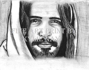 Fine art picture of Christ, LDS art, Jesus print in charcoal, Christian art, print only