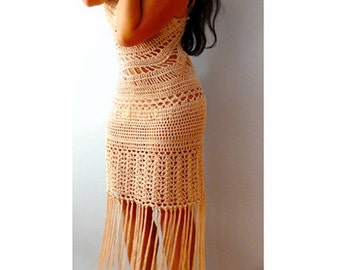 Fringe beige crochet dress- Sexy halter maxi beach dress- Open back formal boho crochet dress- Women dance party fitted dress-resort dress