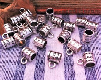 10 bails decorated with stars, antique silver color tube shape