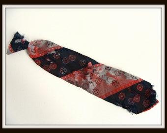 Zombie Necktie. Bloody Neck Tie. vintage 70s Red White & Blue Clip on Necktie. Zombie Vampire Werewolf Costume. Halloween Costume Accessory.