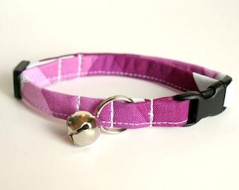 Fuschia Geometric Cat Collar, Breakaway Cat Collar, Purple Cat Collar, Cat Accessories, Pet Collar, Designer Cat Collar, Girl Cat Collar