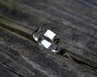 Hammered Sterling Silver Ring, Hammered Wedding Band, Unisex Ring