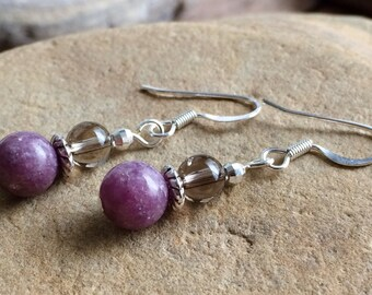 Lepidolite Earrings, Lithium Earrings, Gemstone Dangle Earrings, Genuine Lepidolite Earrings, Purple Lepidolite, Crystal Energy Jewelry