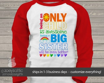 Only child big sister to be pregnancy announcement raglan shirt MOCH-004-r