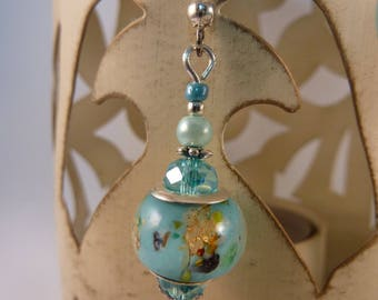 """turquoise gold"" Silver earrings jewelry"