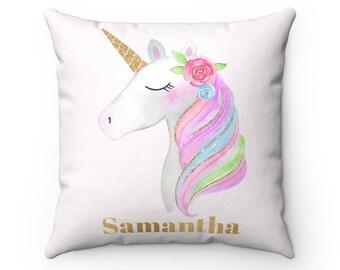 Gold & Pink Unicorn Pillow, Unicorn, Unicorn Gift, Unicorn Cushion, Unicorn Decor, Unicorn Nursery, Nursery Decor, Personalized Pillow