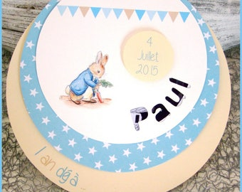 Round baptism, birth or Bunny themed birthday invitation and pennants with cutout name + photo