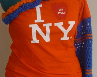 I Love New York  Womens Tee Shirt  Eco  Fashion Upcycled Off The Shoulder Orange and Blue ruffles