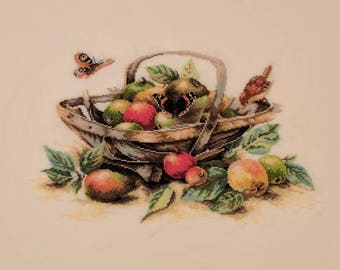 Completed Apple Basket cross stitch