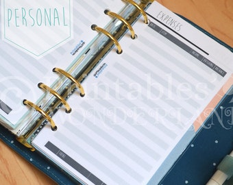 Expenses planner inserts personal size printable, financial inserts instant download for personal organizers
