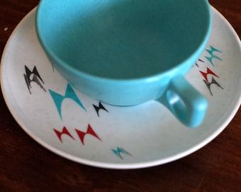 Retro Aqua Branchell Melmac Tea Cup and Saucer Designed by K LaMoyne