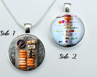 Sushi Necklace - Sushi Plate Pendant - sushi jewelry - Gift for Sushi Lover - Double sided 2 sides sterling silver plated