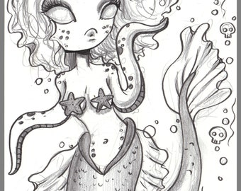 Day #228 - Mermaid Girl - Tentacles and Starfish - original sketch a day drawing! 5.5 x 8.5