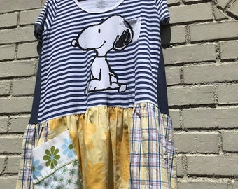 The Snoopy Tunic:  Upcycled, Snoopy, Peanuts, Woodstock, sustainable clothing, funky, reclaimed, original, Melbury Road