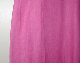 Chaus Petites Size 8 Pink Linen Skirt *Pleated On Sides* Pretty Shade!