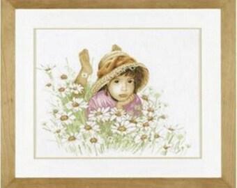 Embroidery Cross Stitch Kit Lanarte - 34919 Little girl in a field of flowers