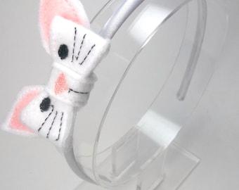 Easter Bunny Headband, White And Pink Bunny, Boutique Easter Bunny, Felt Bunny, Headband Ages 2 to Adult