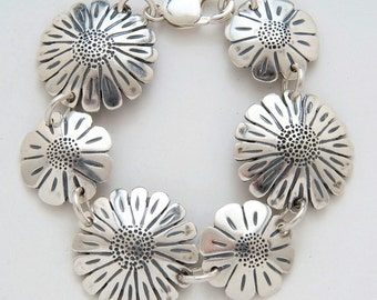 Recycled US Coin Design Sunflowers and Daisies Bracelet made from Vintage American Silver Coins