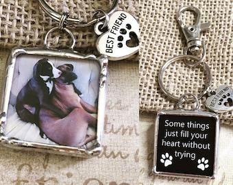 Personalisierte Foto-Schlüsselanhänger, gelötet Glas Charme, Pet-Memorial, beste Freunde Geschenk, Anhänger, Zubehör, Handwerker gemacht, Hund angepasst