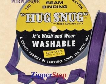 "PURPLENITE- Hug Snug Seam Binding - 100 yard roll 1/2"" Wide - 100% Woven-Edge Rayon - Sewing Trim & Craft Supply - Wholesale Ribbon"